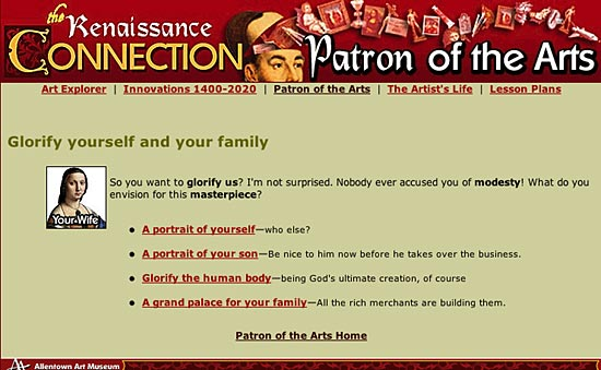 Figure 2: Screenshot from Be a Patron of the Arts