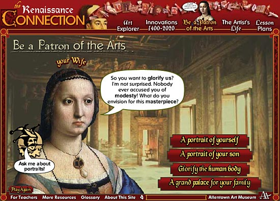 Figure 1: Screenshot from Be a Patron of the Arts